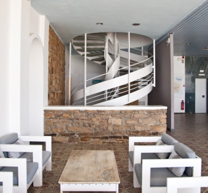 Tinos Beach Hotel Living Room and Staircase